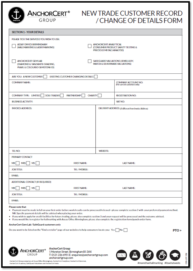 New Customer Form