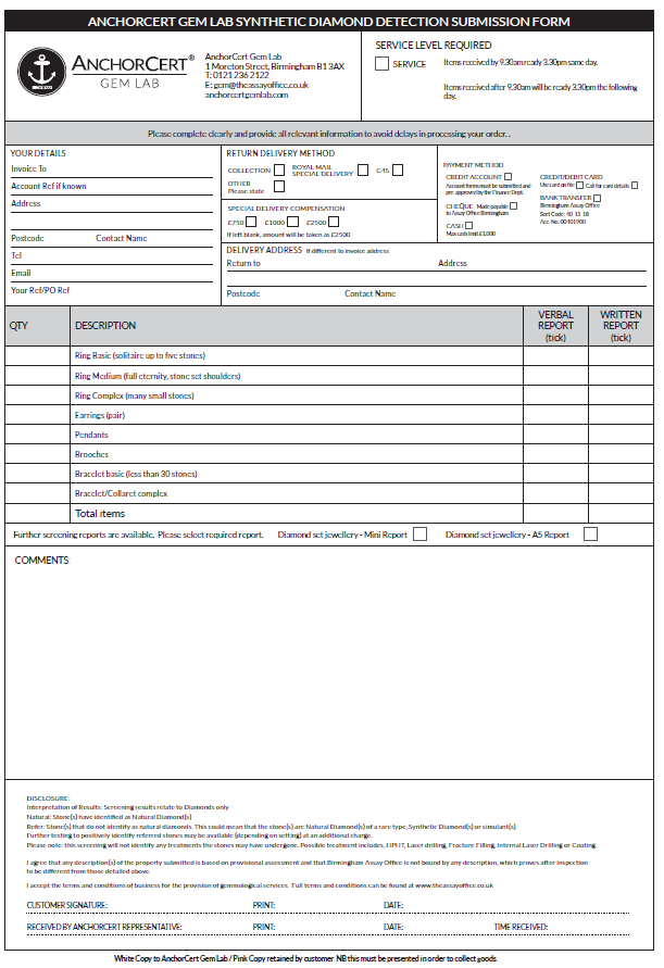 Synthetic Diamond Detection Submission Form